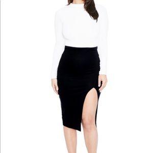 Naked Wardrobe black midi slit skirt.